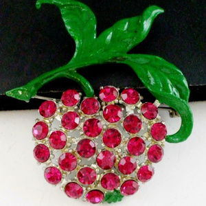 vintage pink rhinestone cherry fruit brooch pin